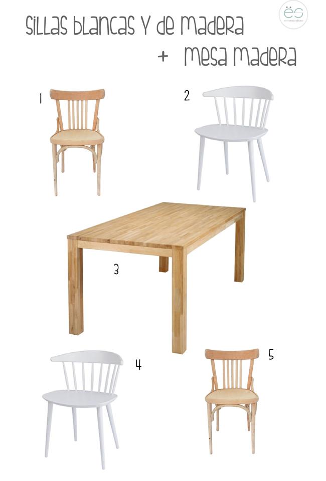 sillas blancas y madera