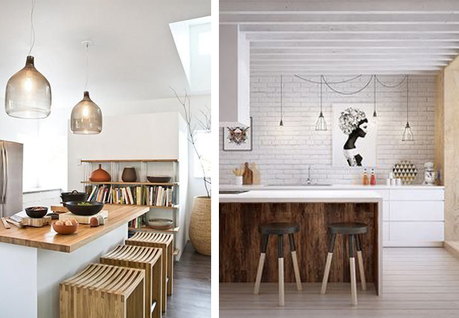 Cocinas con barra o isla estilo escandinavo for Islas de cocina con barra