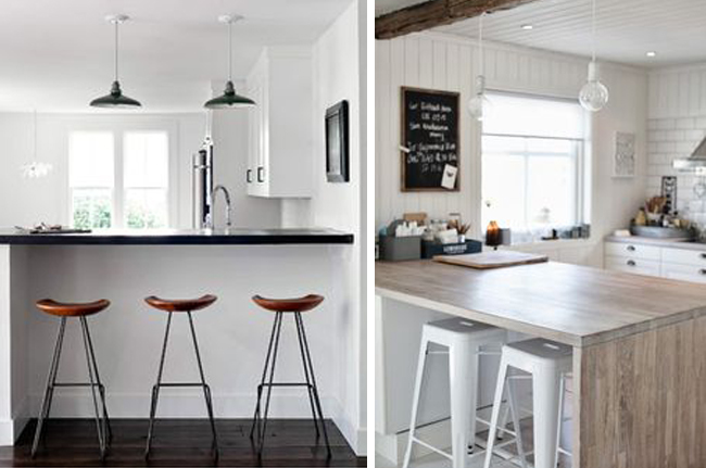 Cocinas con barra o isla estilo escandinavo - Mesas de cocina tipo barra ...