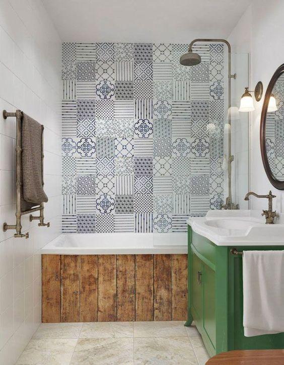 Baldosa hidráulica en el baño  Estilo Escandinavo